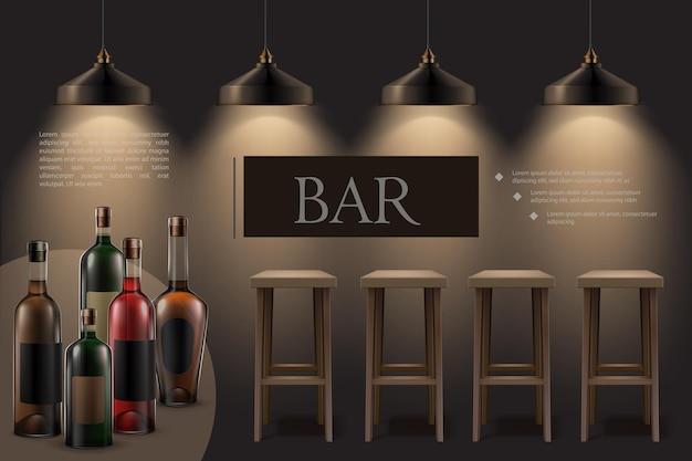 빛나는 램프가 매달려있는 현실적인 밤 카페 인테리어 나무 바 의자 알코올 음료 병
