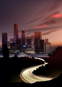 자동차의 움직임에서 조명과 함께 고층 빌딩과 도로와 현실적인 밤 도시 풍경