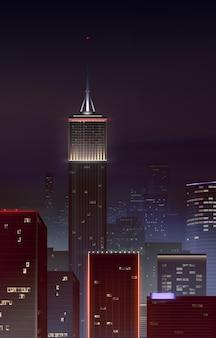 高層ビルのあるリアルな夜の街並み。垂直クローズアップ