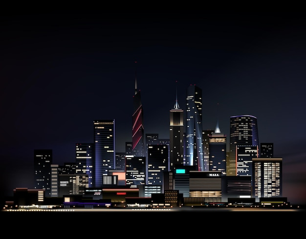 高層ビルのあるリアルな夜の街並み