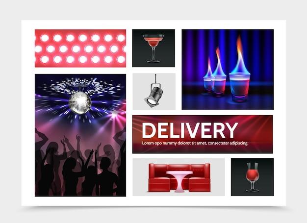 Реалистичные элементы ночной вечеринки с прожекторами, коктейли, огненный выстрел, напитки, диван, стол, люди, танцующие под диско-шар, изолированные