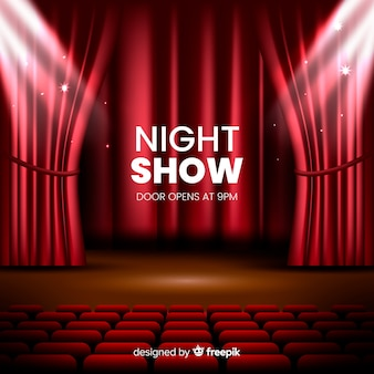 Realistic night show theatre stage