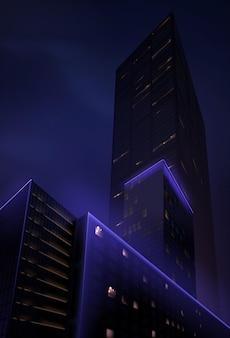 下からのリアルな夜の超高層ビルの眺め