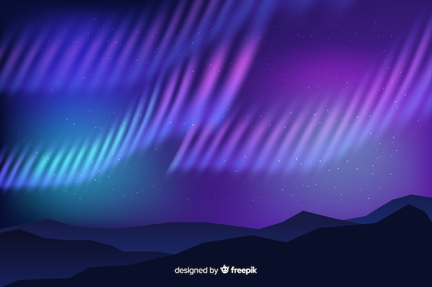 Realistic northern lights background