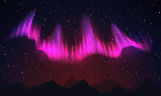 현실적인 북부 핑크 빛, 밤하늘과 놀라운 극광 벡터 일러스트 레이 션.