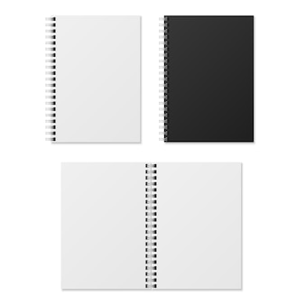 Realistic notebook. blank open and closed spiral binder notebooks. paper organizer and diary template isolated