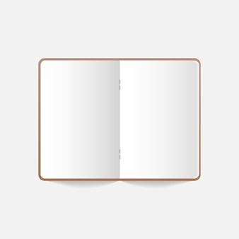 Realistic notebook, diary or book. blank open realistic notebook.