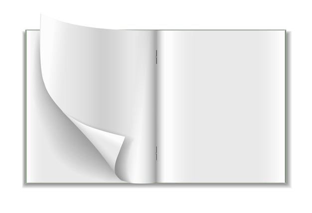 白い背景で隔離の現実的なノートブック