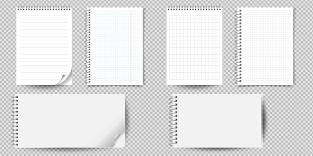 Realistic notebook or notepad with binder isolated. memo note pad or diary with lined and squared paper page templates.