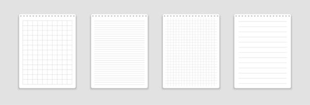 Реалистичный блокнот с прямоугольными и линейными листами.