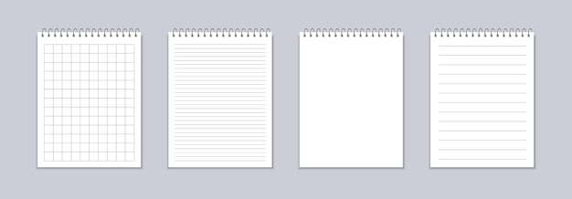 Realistic notebook with squared and line sheets.