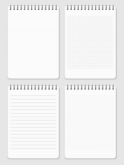 Realistic notebooks page collection - lined and dots notebook