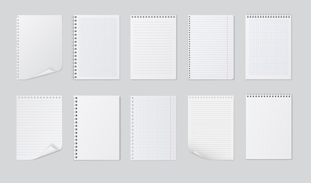 Realistic notebooks sheets isolated