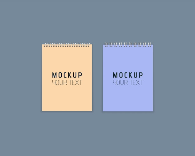 Realistic notebooks with metal spiral. set of colorful notebooks with paper on gray background. artistic design mockup for your text. paper sheets in flat style. illustration,  .