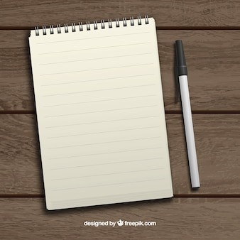 Realistic notepad and pen