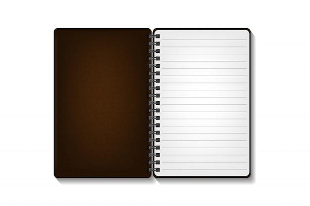 白い背景の上の現実的なメモ帳。現実的な紙は、カバー、ブランディング、コーポレートアイデンティティ、広告用のテンプレートのモックアップです。