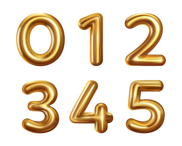 Realistic number collection isolated on white