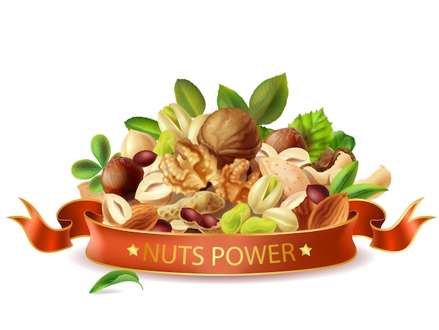 Realistic nuts power banner template isolated.