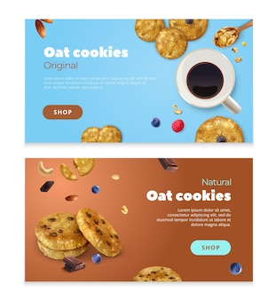 Реалистичный набор овсяного печенья из двух горизонтальных баннеров с редактируемым текстом изображений еды и кнопкой магазина