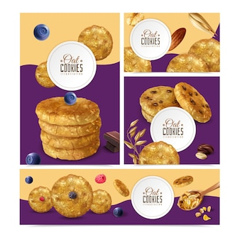 Realistic oat cookies set with banners of different size with editable text frames and biscuit