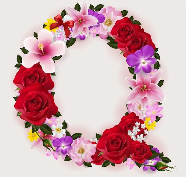 Realistic of beautiful flower font.