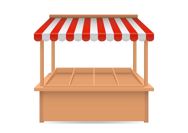 Реалистичные пустой рыночный прилавок с красно-белым полосатым навесом, изолированным на фоне.