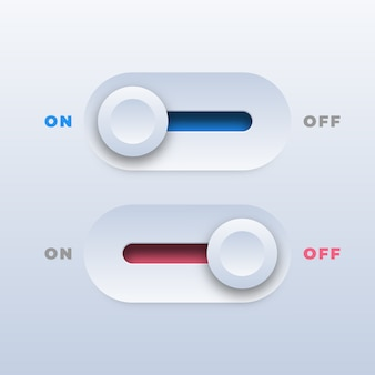 Realistic on and off toggle switch buttons