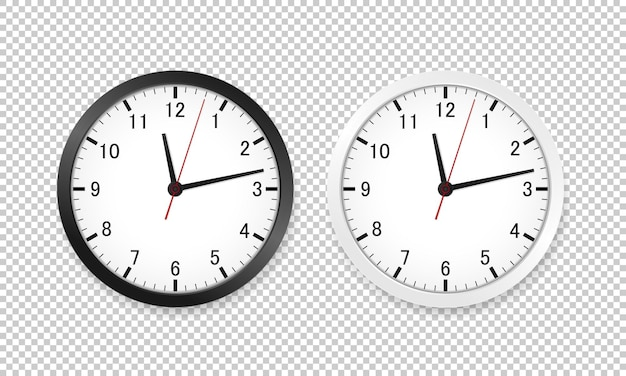 Realistic office clock in black and white. vector illustration eps 10