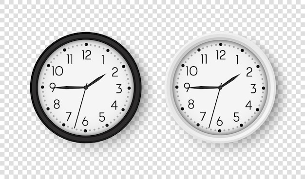 Realistic office clock round clocks on wall vector black and white watch isolated on transparent bac...