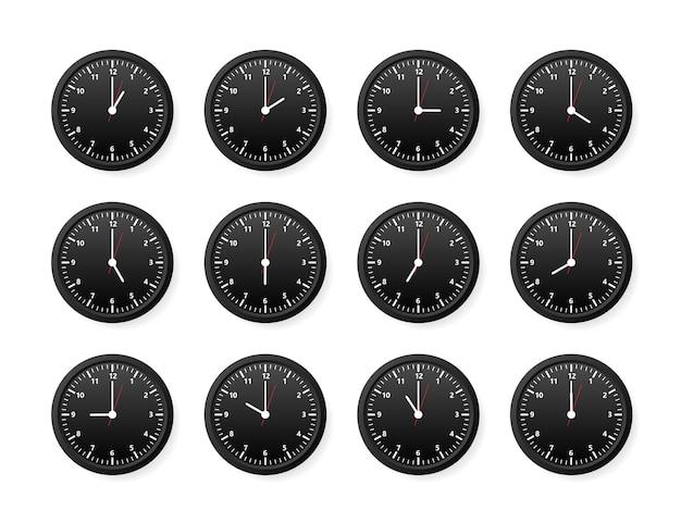 Realistic office clock set