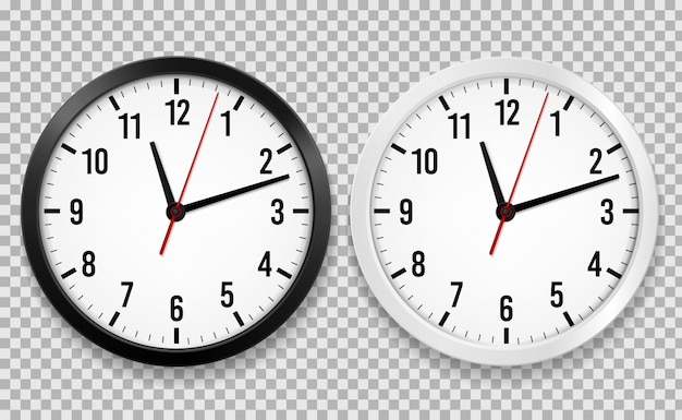 Realistic office clock. wall round watches with time arrows and clock face isolated 3d vector black and white clocks