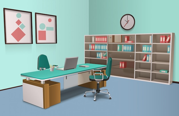 Realistic office interior big boss