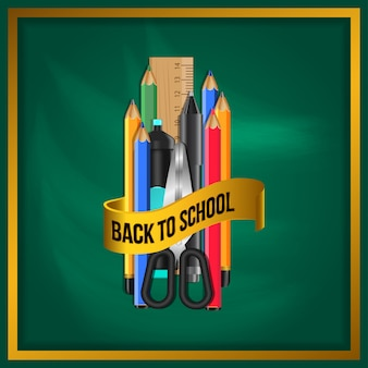 Realistic office set with golden banner back to school
