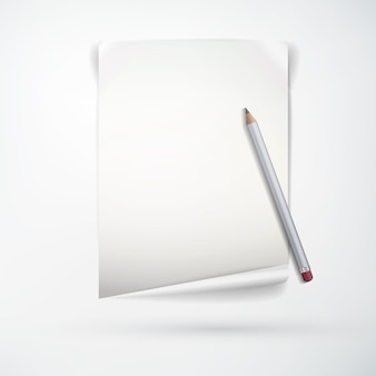 Realistic office stationery concept with blank paper sheet and wooden pencil on light  isolated