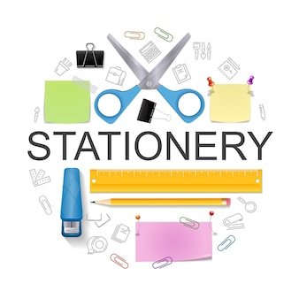 Realistic office stationery round concept with scissors stapler pencil ruler colorful note stickers binder clip pushpins   illustration