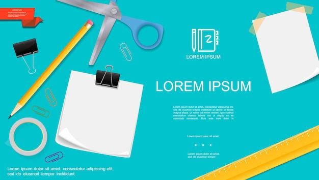 Realistic office stationery template with blank paper notes scissors pencil ruler adhesive tape binder clips on turquoise background  illustration,