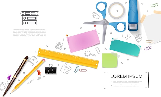 Реалистичный шаблон канцелярских принадлежностей с ножницами, заполненными степлером, карандашом, линейкой, кнопками, примечаниями, наклейками, зажимом для бумаг и иллюстрацией стационарных значков,
