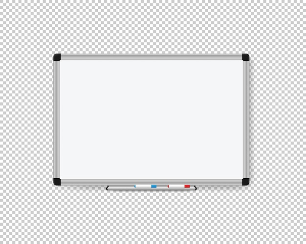 Realistic office whiteboard on transparent background. vector eps 10