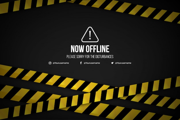 Realistic offline twitch banner background template