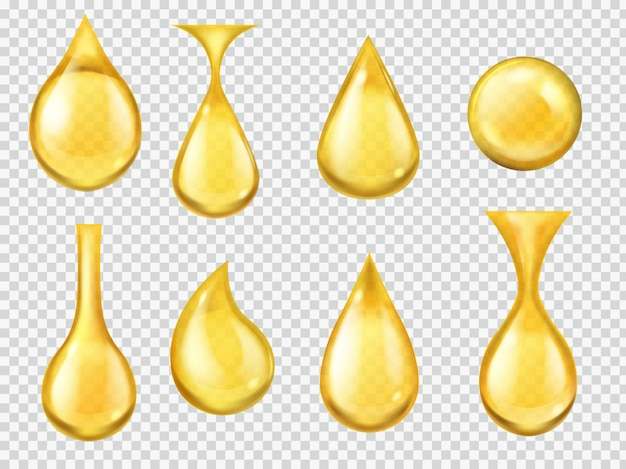 Realistic oil drops. falling honey drop, gasoline yellow droplet. gold capsule of liquid vitamin, dripping machine oil