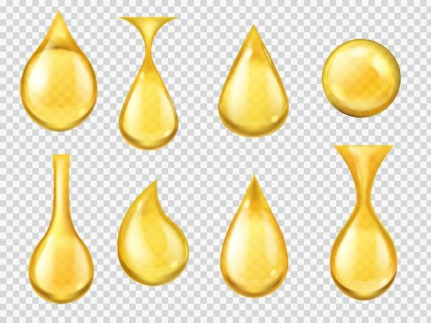 현실적인 기름 방울. 떨어지는 꿀 방울, 가솔린 노란색 물방울. 액체 비타민의 금 캡슐, 떨어지는 기계 기름