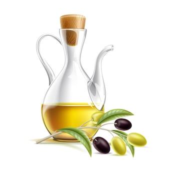 オリーブの枝が付いている現実的なオイルの水差し。ガラス瓶に入ったプレミアムバージンオリーブオイル。