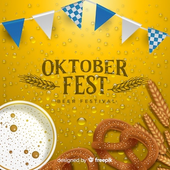 Realistic oktoberfest background with a beer mug