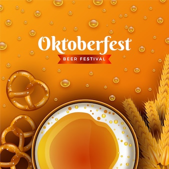 Realistic oktoberfest background with beer and pretzels