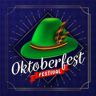 Realistic oktoberfest background with hat