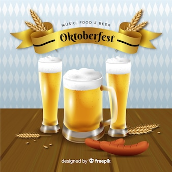 Realistic oktoberfest background