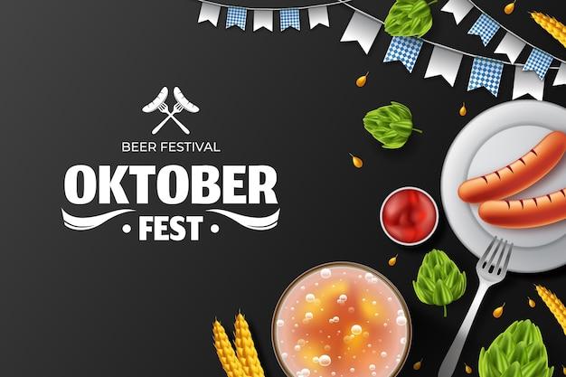 Realistic oktoberfest background Premium Vector