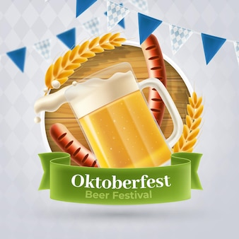 Realistic oktoberfest banner with pint of beer and wurst