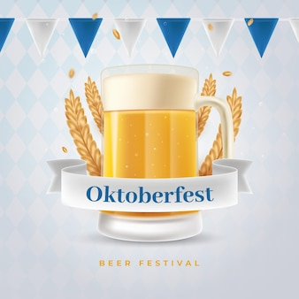 Realistic oktoberfest banner with pint