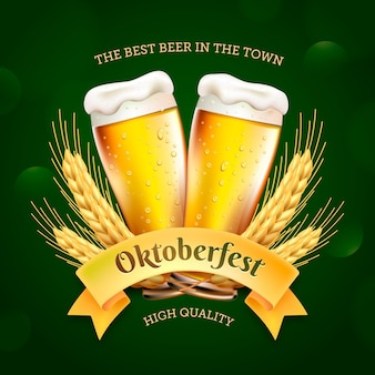 Realistic oktoberfest banner with pints of beer